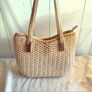 Brighton Deco Evonne Straw and Leather tote bag